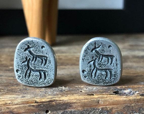 Vintage pewter Scandinavian folk art  viking earrings stamped by artist clip earrings