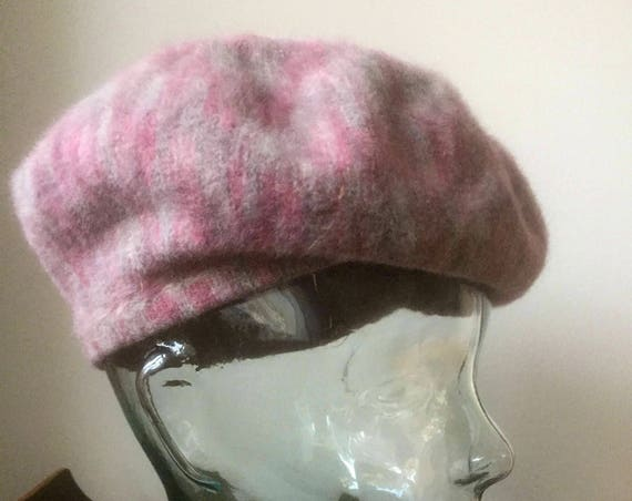 Swedish/beret/angora/wool/blend/plum/pink/gray
