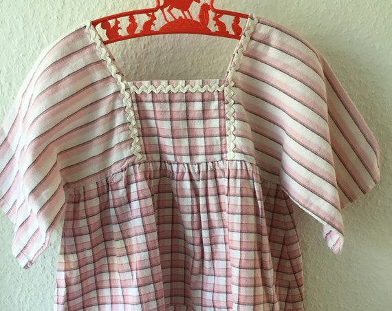 Vintage Girls dress sweet gingaham Pink and White checked patchwork stripe dress white edging Scandinavian handmade