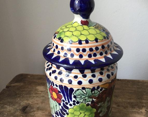 older Mexican pottery cayetano Corona folk art jar lid canister pot with lid signed fruit ceramic art ginger jar