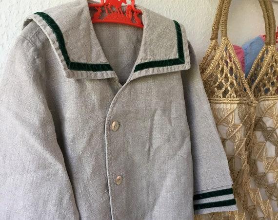 Boys/Nautical/button down/sailor/shirt/Jacket/Linen/1960s