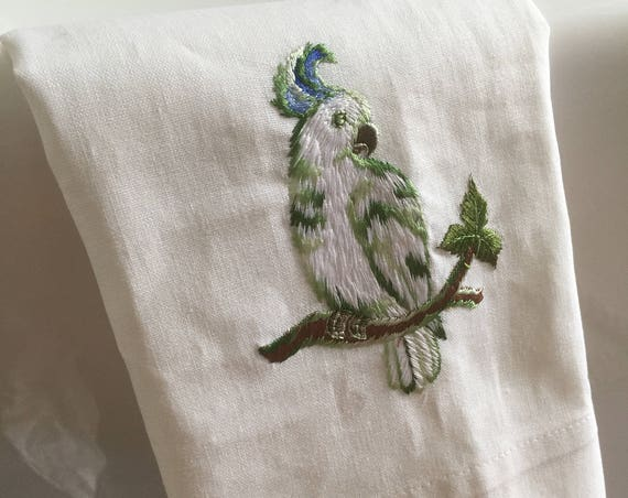 Parrot/hand towel/embroidered/linen/bird