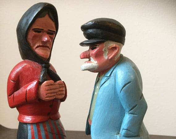 Swedish/hand carved/old couple/man and woman figurine /painted/from 1968/husband and wife