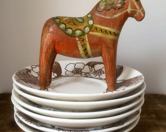 Set of 6 Gustavsberg saucers Emma series / Vintage Swedish ceramics / 1960s