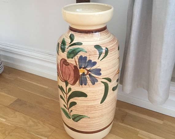 XL/Bay pottery/West Germany/Bay Vase/Bay floor vase/flowers/1975/hand painted chinoiserie