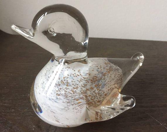 Glass bird/hand blown/soft glass/bird/ duck/figurine/1970s/snapphane glassworks/soft glass