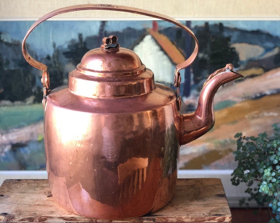 Antique Swedish copper kettle late 1800s Stamped E. Bengtsson Malmö