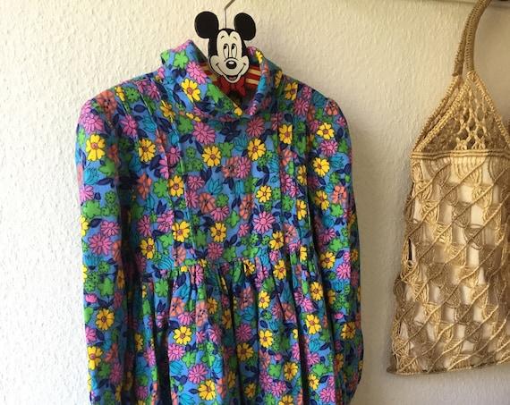 Vintage Girls retro boho Blue yellow pink long sleeved flowery dress hidden zipper Scandinavian perfect fall and winter dress