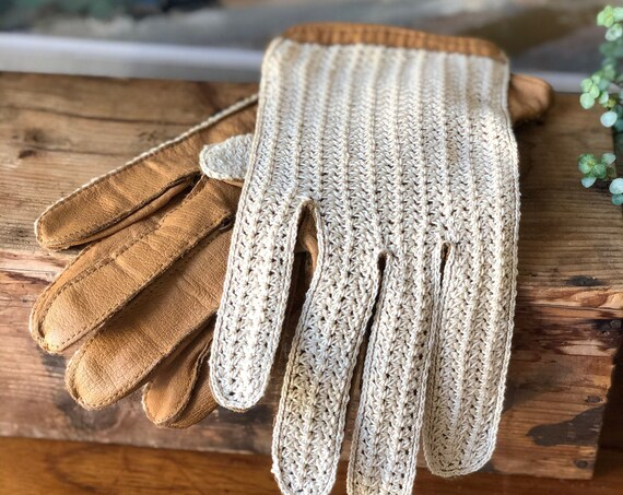 Vintage leather driving gloves with cream cotton and tan leather vintage men's driving gloves
