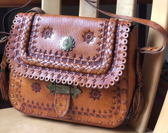 Boho Tooled leather satchel purse 1970s made in Poland adjustable strap hippie