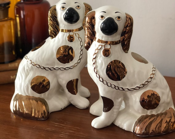 Large Copper English Wally dogs made in England  signed / wally dogs/ porcelain figurines