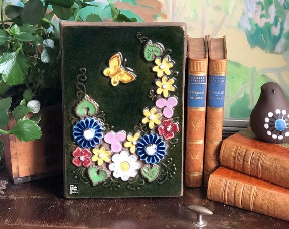 Jie Amio Gantofta Sweden ceramic wall tile / wall plaque  ceramic green with flowers butterfly wall hanging floral scandi boho