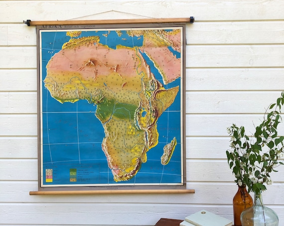 Large Vintage Swedish 1953 classroom school house Map of Africa / African geographic vegetation printed in Stockholm