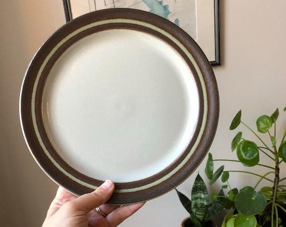 Arabia Karelia Finland Plates  Uosikkinen Hand Painted  Stoneware Brown Rim Scandinavian Design