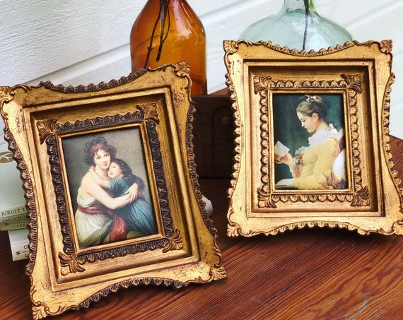 Gilded gold wooden framed Victorian silkscreened fabric portrait prints masterpiece portraits