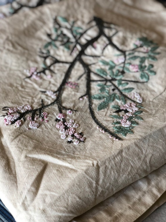 Floral Tablecloth Vintage Scandinavian linen cotton hand embroidered tablecloth beige grey and pink hygge cherry blossom