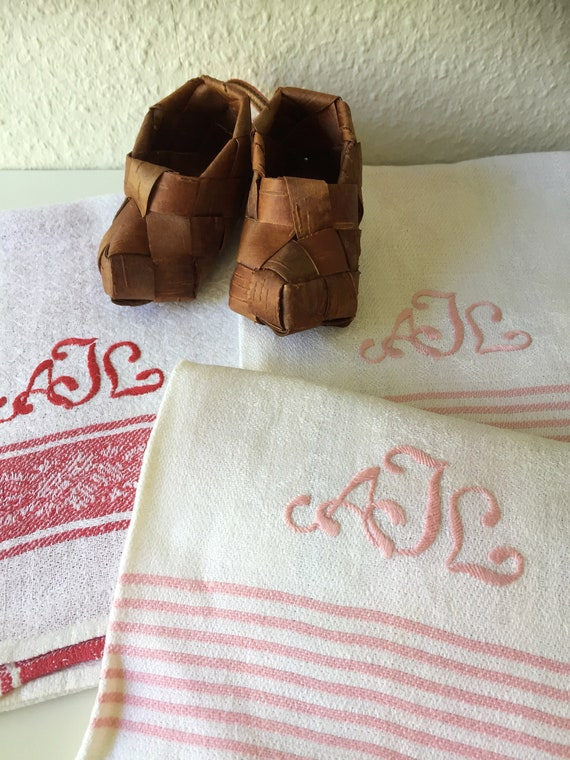 set of 3 Vintage woven linen Scandinavian hand towel kitchen towel monogram AJL pink and white /red and white