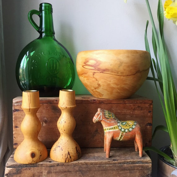 Swedish/wooden/turned /candle stick holders/Scandinavian/woodworking/design/short/Vintage/Còsagach/hygge