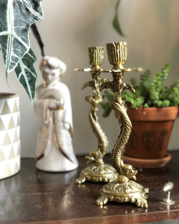Solid brass candle stick holders Hollywood regency heavy koi fish chinoiserie tapered candle turn of the century gatsby chinoiserie