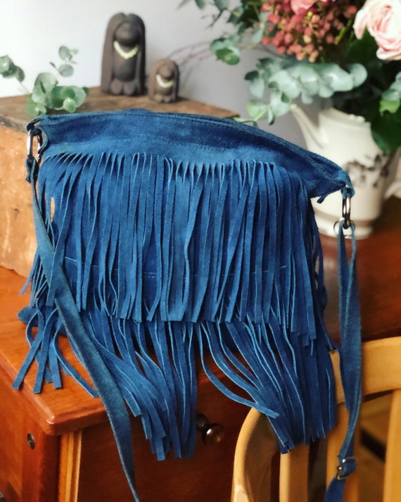 Italian blue suede leather Fringe bag purse 80s vintage made in Italy bag