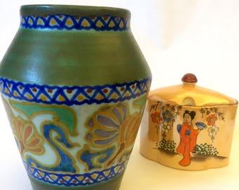 Rare/1921/Gouda/vase/crocus/art nouveau/art deco/style chinoiserie