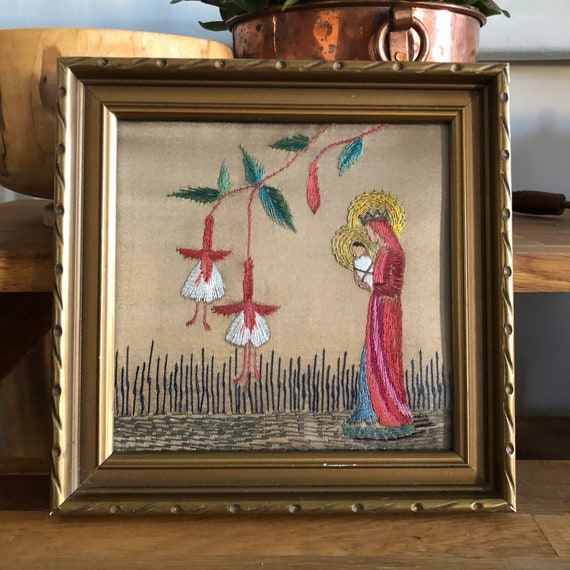 Tradition Swedish crewel embroidered wall virgin mary and child Jesus religious gold colors framed