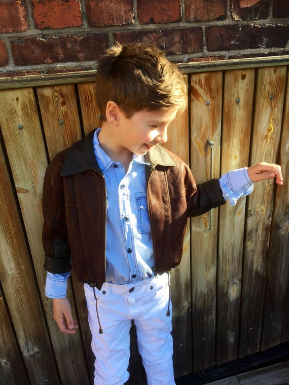 Kids Leather/Bomber/Jacket/1980s/Italian design/ perfect for your Little Rock star