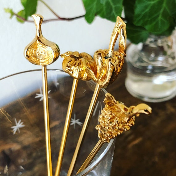 Vintage gold plated drink pin set with cocktail garnish motif Bar cart decor