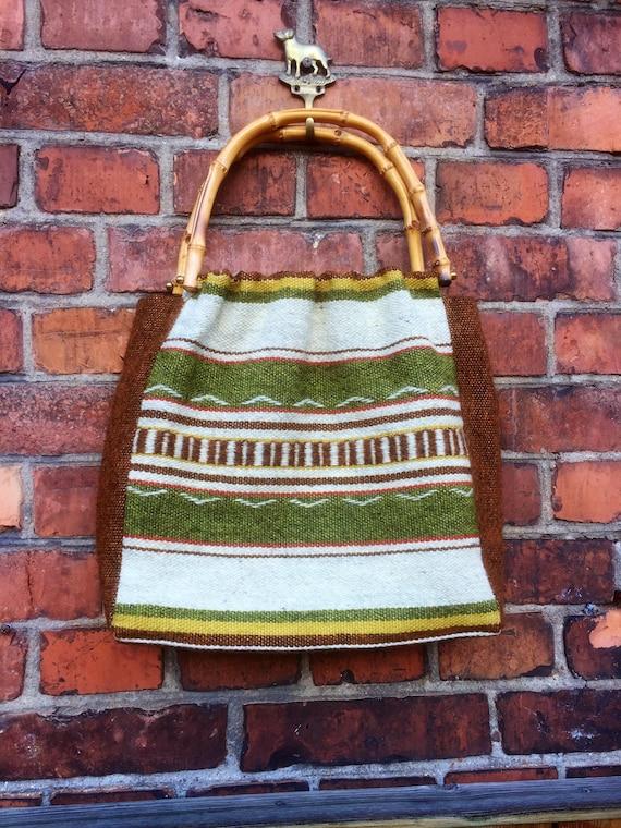Woven boho tapestry bag bamboo handles kilim pattern nanna chic grandma chic granny chic handbag