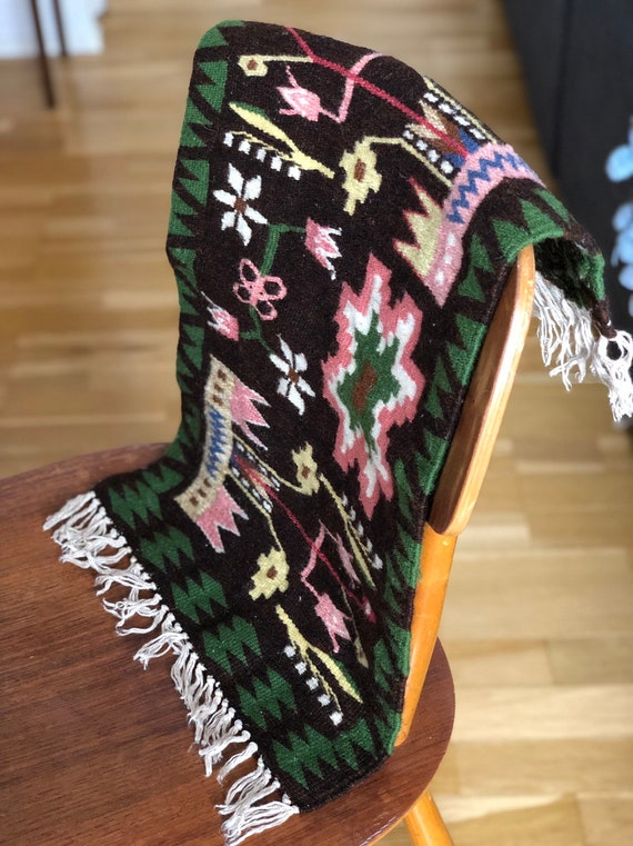 Handwoven tapastry floral wool table runner / wallhanging / small rug Nordic Scandinavian