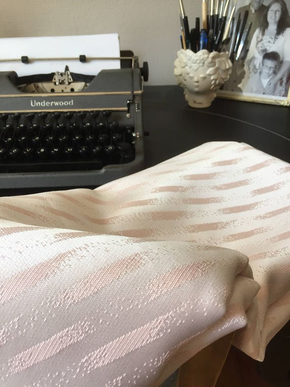 Vintage pink material heavy cotton blend Swedish midcentury modern damask