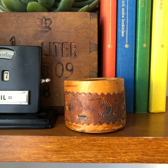 Swedish wooden birch bark midcentury modern wooden container sugar bowl canister small storage Scandinavian