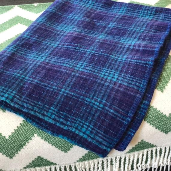 Small Swedish wool throw picnic blanket/blue tones purple wool blanket throw scandinavian design/Sweden /midmod/plaid/Còsagach