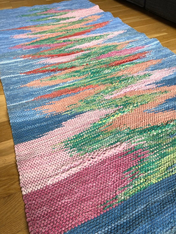 Original ombre Scandinavian rag rug woven textil art wall hanging tapestry nordic design /Swedish weaving Nordic fiber art