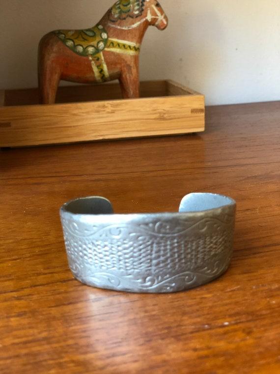 Vintage Viking style pewter cuff bracelet Scandinavian design stamped by maker scandinavian viking style braclet