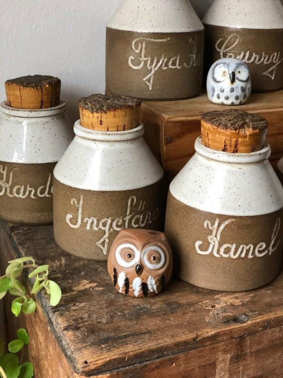 Vintage Swedish  Studio pottery spice canisters cork lids Swedish set of 8 scandi kitchen storage