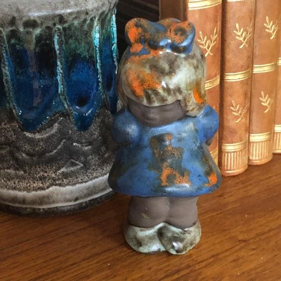 Tilmans keramik Sweden ceramic shy girl monkey figurine 1950s Scandinavian design