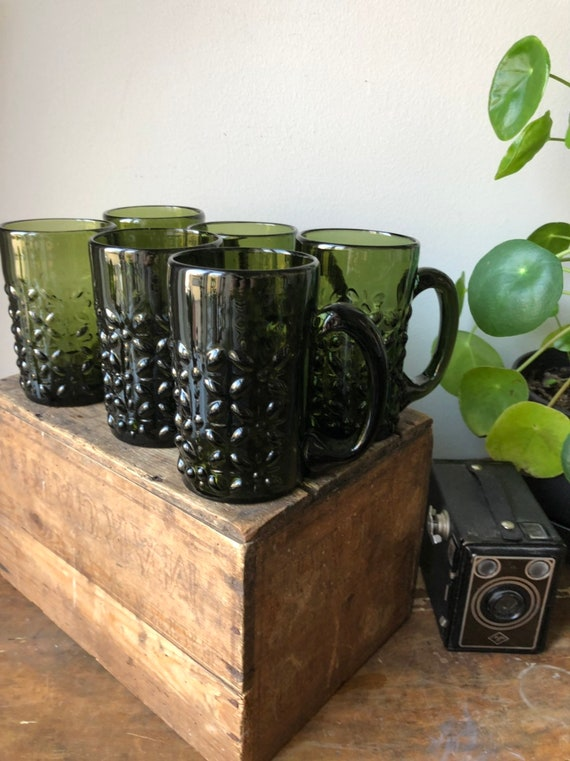 Swedish hand blown green beer steins 1970s set of 6 Skruf glassworks