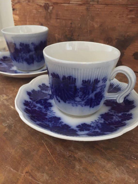 2 sets of vinranka Ekeby flower blue flow blue  coffee cups and saucers Gefle by Arthur Percy grapevine Scandinavian farmhouse