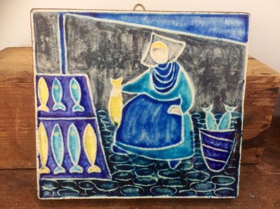 Danish/ceramic wall tile/women fish market /Dietlinde Hein/Knabstrup/Denmark/midcentury modern/Scandinavian/plaque