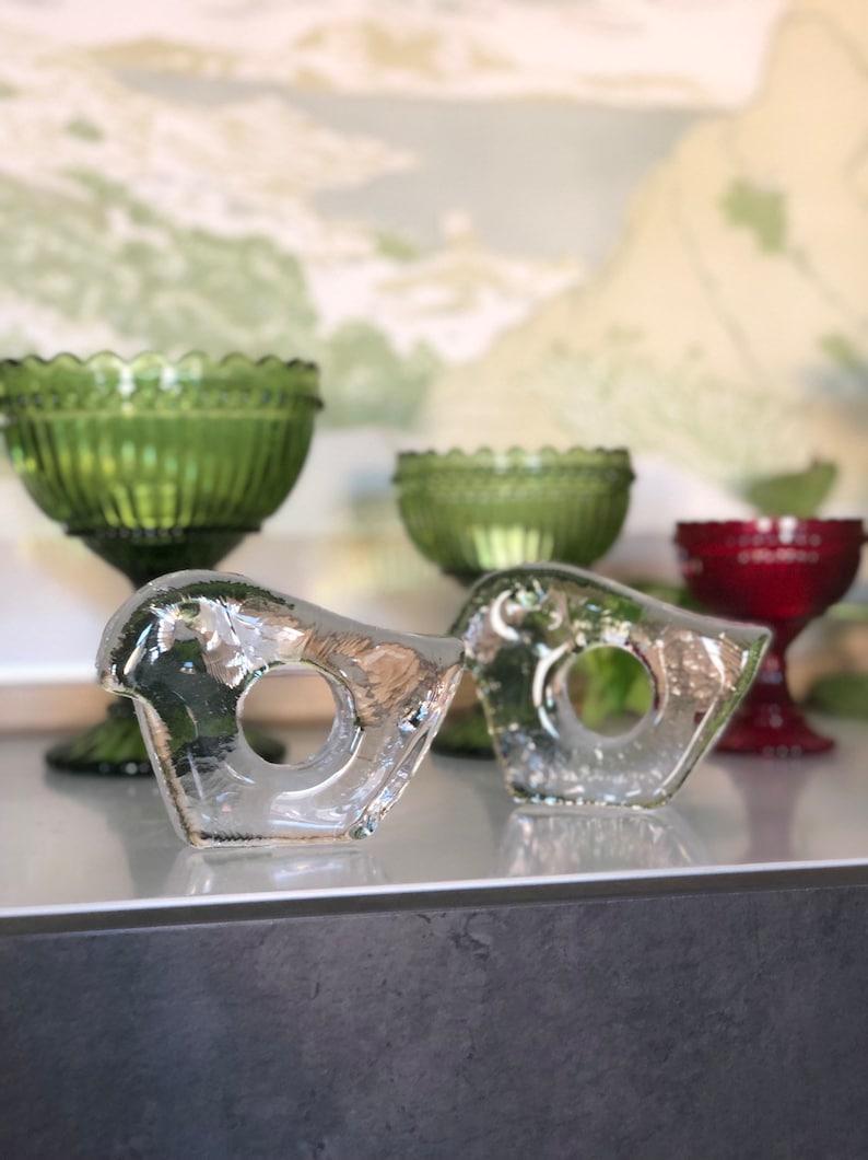 Swedish Pukeberg set of 2 crystal egg cup figurines 1980s