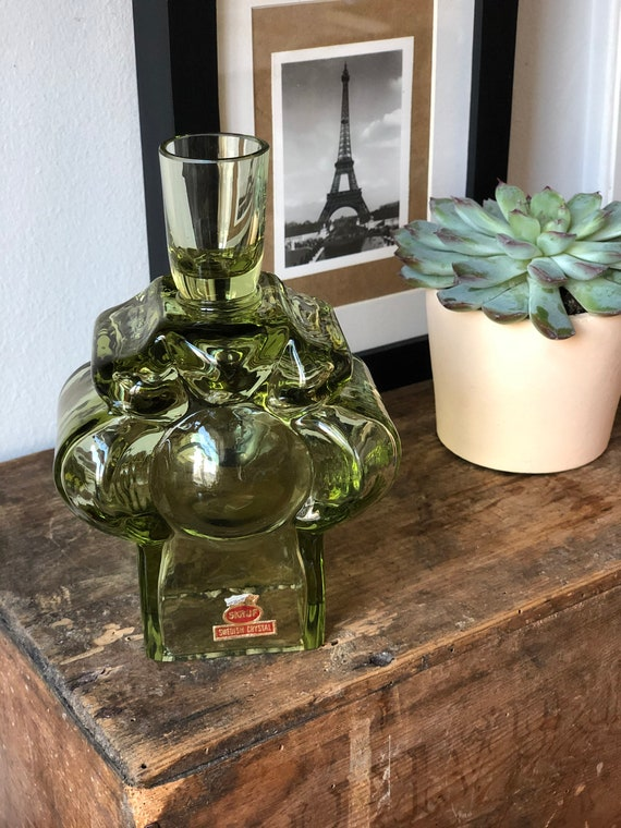 Lars Hellsten Skruf candle holder  holder crystal green glass
