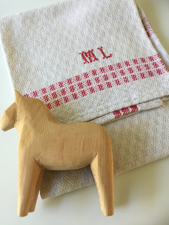 Vintage/woven/Scandinavian/hand towel/kitchen towel/monogram ML/red and white