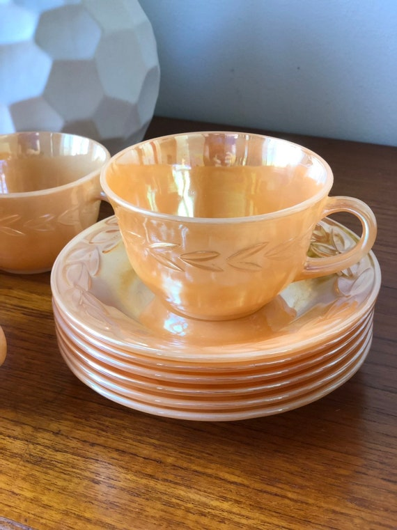 Fire King Anchor Hocking peach lusterware 1950s cup and saucer