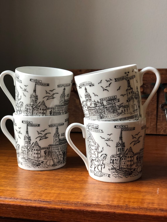 4 Gustavsberg cups Stockholm cityscape of famous buildings in black and white / espresso/ coffee cups