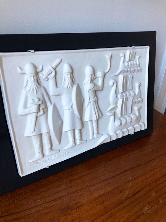 Rörstrand art ceramic tile plaque designed by Bertil Lundgren  / Scandinavian midcentury modern