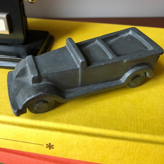 Miniature Vintage Swedish bronze convertible car figurine by Herman Bergman made in Sweden