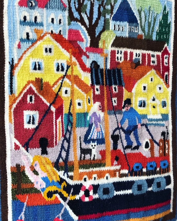 Swedish folk art woven wall hanging done on small loom harbor scene /Scandinavian nordic iron hardware hygge bohemian style /granny chic