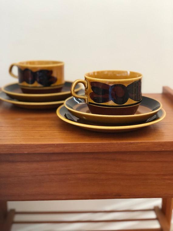 Trio/Rörstrand/ Tuna/ tea cup/ saucer/cake plate/Swedish/ Rörstrand/ 1960s/designed by Carl-Harry Stålhane/ dessert