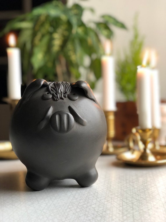 Hungarian studio pottery piggy bank ceramic pet Signed boho style collectable  boho
